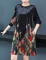 baratos -Mulheres Moda de Rua / Elegante Reto Vestido - Estampado, Estampa Colorida Acima do Joelho