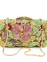 baratos -Mulheres Bolsas Liga Bolsa de Mão Detalhes em Cristal / Vazados Floral Dourado