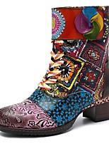 Недорогие -Жен. Комфортная обувь Кожа Зима Ботинки На толстом каблуке Сапоги до середины икры Красный / Синий