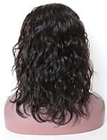 Недорогие -Remy Полностью ленточные Парик Бразильские волосы Естественные волны Парик Стрижка боб / Стрижка каскад / Средняя часть 130% Природные волосы / Прямой пробор / Парик в афро-американском стиле