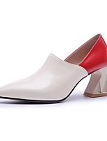 Недорогие -Жен. Балетки Наппа Leather Лето Обувь на каблуках На толстом каблуке Черный / Миндальный