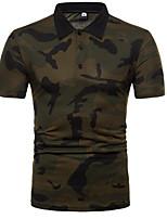 baratos -Homens Polo Estampa Colorida / camuflagem Colarinho de Camisa Delgado / Manga Curta