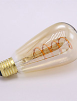 Недорогие -1шт 4 W 300 lm E26 / E27 LED лампы накаливания ST64 1 Светодиодные бусины COB Декоративная / Мягкая нить Тёплый белый 85-265 V