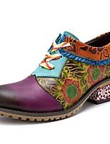 Недорогие -Жен. Комфортная обувь Кожа Наступила зима Обувь на каблуках На толстом каблуке Лиловый