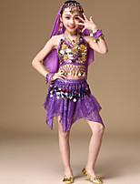 baratos -Dança do Ventre Roupa Para Meninas Espetáculo Elastano Moedas de Bronze / Faixa / Em Camadas Sem Manga Caído Jóias para o Cabelo / Saias / Blusa