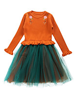 Недорогие -Дети Девочки Цветочный принт Длинный рукав Платье