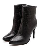 Недорогие -Жен. Fashion Boots Полиуретан Осень Ботинки На шпильке Закрытый мыс Ботинки Белый / Черный