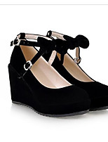 Недорогие -Жен. Комфортная обувь Полиуретан Весна Обувь на каблуках Туфли на танкетке Черный / Бежевый / Розовый