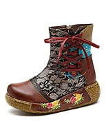 Недорогие -Жен. Комфортная обувь Кожа Зима Ботинки На плоской подошве Сапоги до середины икры Кофейный / Синий