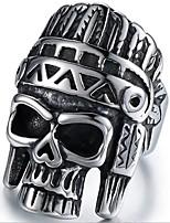 abordables -Homme Le style rétro 3D Anneau de bande Anneau de déclaration - Acier au titane Crâne Rétro, Punk 9 / 10 Noir Pour Halloween Quotidien Plein Air