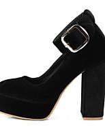 Недорогие -Жен. Комфортная обувь Микроволокно Весна Английский Обувь на каблуках На толстом каблуке Закрытый мыс Черный / Винный / Хаки