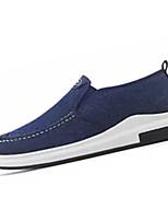 baratos -Homens Sapatos Confortáveis Lona Outono Casual Mocassins e Slip-Ons Não escorregar Preto / Cinzento / Azul
