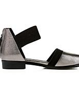 baratos -Mulheres Sapatos Confortáveis Pele Napa Primavera Rasos Salto Baixo Dedo Apontado Prata