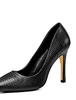 baratos -Mulheres Sapatos Confortáveis Pele Napa Verão Saltos Salto Agulha Preto / Verde Tropa