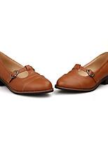 Недорогие -Жен. Балетки Полиуретан Лето Обувь на каблуках На толстом каблуке Черный / Желтый