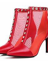 Недорогие -Жен. Fashion Boots Полиуретан Весна Ботинки На шпильке Закрытый мыс Ботинки Черный / Красный