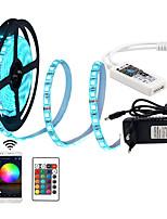 Недорогие -KWB 1x5M RGB ленты / Пульты управления / Интеллектуальные огни 300 светодиоды SMD5050 1 блок питания X 12V 3A RGB Можно резать / Декоративная / Компонуемый 100-240 V 1 комплект