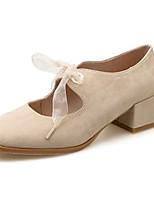 abordables -Femme Escarpins Polyuréthane Automne Chaussures à Talons Talon Bottier Bout carré Noir / Amande / Quotidien