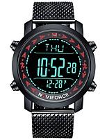 Недорогие -NAVIFORCE Муж. Спортивные часы Японский Японский кварц 30 m Защита от влаги Календарь Фосфоресцирующий Нержавеющая сталь Группа Аналого-цифровые На каждый день Мода Черный -