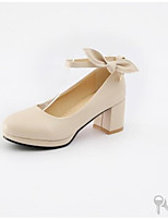 baratos -Mulheres Sapatos Confortáveis Couro Sintético Primavera Sapatos De Casamento Salto Robusto Rosa claro