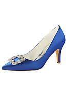 baratos -Mulheres Stiletto Cetim Outono Sapatos De Casamento Salto Agulha Dedo Apontado Cristais Azul / Festas & Noite