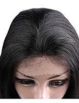 Недорогие -Remy Полностью ленточные Лента спереди Парик Бразильские волосы Прямой Парик Ассиметричная стрижка 130% 150% 180% Плотность волос Женский Легко туалетный Натуральный Черный Жен. 8-14