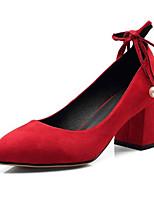 baratos -Mulheres Stiletto Camurça Primavera Saltos Salto Robusto Preto / Vermelho
