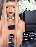 Недорогие -Remy Лента спереди Парик Перуанские волосы Шелковисто-прямые Парик 150% Природные волосы / С отбеленными узлами Жен. Длинные Парики из натуральных волос на кружевной основе