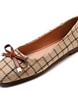 Недорогие -Жен. Комфортная обувь Хлопок Осень На каждый день На плокой подошве На плоской подошве Бант Черный / Хаки