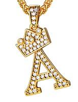 abordables -Femme Blanc Cristal prénom Pendentif de collier - Forme de Lettres Mode Or 55 cm Colliers Tendance Bijoux 1pc Pour Cadeau, Quotidien