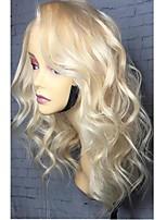 Недорогие -Remy Лента спереди Парик Бразильские волосы Свободные волны Блондинка Парик Стрижка боб Средняя часть 130% Плотность волос Природные волосы Прямой пробор Боковая часть Блондинка Жен. Средняя длина