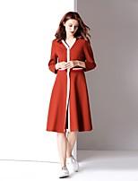 abordables -Femme Basique Trapèze Robe - Mosaïque, Couleur Pleine Mi-long