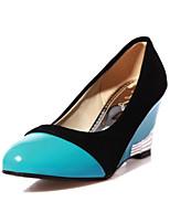 Недорогие -Жен. Комфортная обувь Лакированная кожа Весна / Лето Милая Обувь на каблуках Туфли на танкетке Белый / Красный / Тёмно-синий