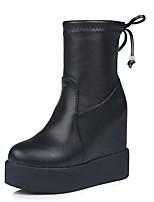 Недорогие -Жен. Fashion Boots Полиуретан Осень Ботинки Микропоры Круглый носок Черный
