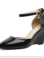 abordables -Femme Chaussures de confort Polyuréthane Eté Chaussures à Talons Hauteur de semelle compensée Noir