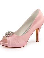 baratos -Mulheres Stiletto Cetim Primavera Verão Sapatos De Casamento Salto Agulha Peep Toe Pedrarias / Gliter com Brilho Rosa Claro / Festas & Noite