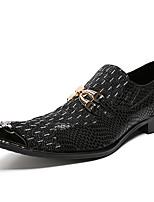 Недорогие -Муж. Официальная обувь Наппа Leather / Под крокодила Осень Английский Туфли на шнуровке Доказательство износа Контрастных цветов Черный / Для вечеринки / ужина