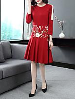 Недорогие -Жен. Винтаж / Изысканный А-силуэт Платье - Цветочный принт, Вышивка Средней длины