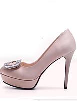 Недорогие -Жен. Комфортная обувь Сатин Осень Обувь на каблуках На шпильке Черный / Красный / Светло-коричневый