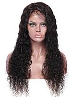 Недорогие -Необработанные Лента спереди Парик Бразильские волосы Волнистые Парик 130% С детскими волосами / Легко туалетный / Лучшее качество Нейтральный Длинные Парики из натуральных волос на кружевной основе