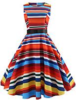 baratos -Mulheres Básico Evasê Vestido - Estampado, Listrado Altura dos Joelhos