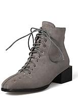 Недорогие -Жен. Fashion Boots Замша Осень Ботинки На толстом каблуке Черный / Серый / Миндальный