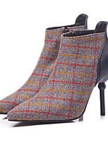 Недорогие -Жен. Fashion Boots Трикотаж Осень Ботинки На шпильке Закрытый мыс Ботинки Коричневый / Синий