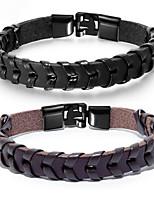 abordables -Homme Tressé Loom Bracelet - Acier au titane Punk, Branché Bracelet Noir / Marron Pour Quotidien Plein Air