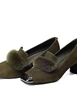 abordables -Femme Chaussures de confort Fourrure de lapin / Daim Printemps Doux Chaussures à Talons Talon Bottier Pom pom Noir / Gris / Vert Véronèse / Soirée & Evénement