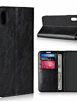 Недорогие -Кейс для Назначение Apple iPhone XR / iPhone XS Max Кошелек / Защита от удара / со стендом Чехол Однотонный Твердый Настоящая кожа для iPhone XS / iPhone XR / iPhone XS Max