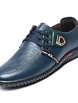 Недорогие -Муж. Комфортная обувь Полиуретан Осень На каждый день Туфли на шнуровке Нескользкий Черный / Коричневый / Синий