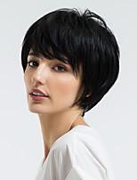 Недорогие -Человеческие волосы без парики Натуральные волосы Прямой Стрижка под мальчика Природные волосы Золотистый / Черный Без шапочки-основы Парик Жен. На каждый день