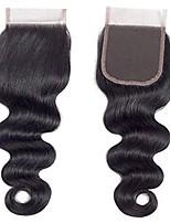 Недорогие -Yavida Малазийские волосы / Естественные кудри 4x4 Закрытие Волнистый Бесплатный Часть Швейцарское кружево Натуральные волосы Жен. Шерсть / Лучшее качество / Для темнокожих женщин