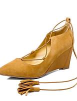 abordables -Femme Escarpins Daim Hiver Chaussures à Talons Hauteur de semelle compensée Noir / Jaune
